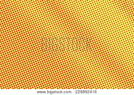Yellow Red Dotted Halftone. Diagonal Frequent Dotted Gradient. Half Tone Vector Background. Artifici