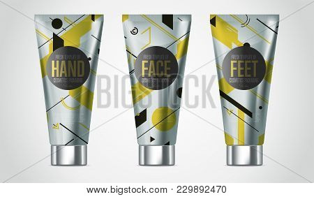 Realistic Face Or Body Beauty Care Cosmetic Product Plastic Container Set  Illustration. Cleanser, L