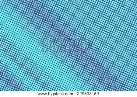 Blue Violet Dotted Halftone. Diagonal Frequent Dotted Gradient. Half Tone Vector Background. Artific