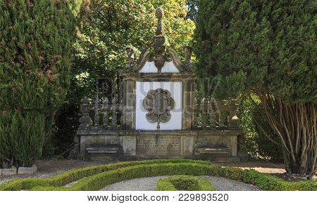 Vila Real, Portugal - September 22, 2017: Gable In Granite Created By The Palace Architect Nicolau N