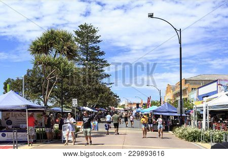 Redcliffe, Australia - March 4, 2018: The Redcliffe Jetty Markets, On The Foreshore In The Heart Of