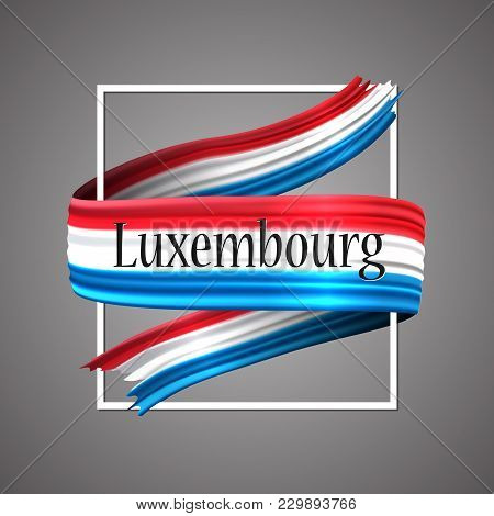 Luxembourg Flag. Official National Colors. Luxembourgish 3d Realistic Ribbon. Isolated Waving Vector