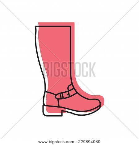 Womans High Boot Icon. Doodle Illustration Of Womans High Boot Vector Icon For Web And Advertising
