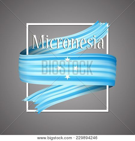 Micronesia Flag. Official National Colors. Micronesian 3d Realistic Ribbon. Isolated Waving Vector G