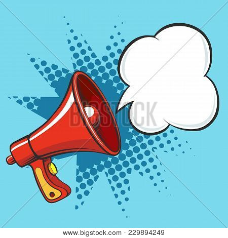 Cartoon Megaphone. Loudspeaker Business Announce Vector Illustration, Retro Loud Speaker Isolated On