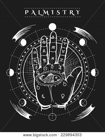 Esoteric Prophecy Poster. Occult Human Hand Fish Tattoo And Palmistry Etching Symbols Vector Illustr