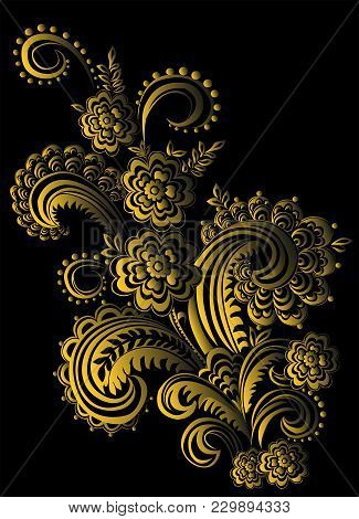 Ornament With Branching Elements. Vector Floral Decor On Black Background. Pattern With Lace Element