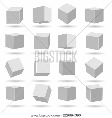 White Cubes. Geometry Modeling Cube Set Isolated On White Background, Miscellaneous Angles Dimension