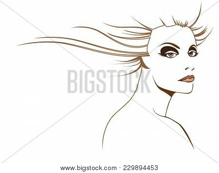 Graphic Woman Beauty With Stylized Brown Hair