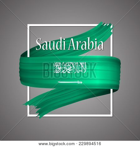 Saudi Arabia Flag. Official National Colors. Saudi Arabian 3d Realistic Ribbon. Isolated Waving Vect