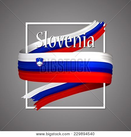 Slovenia Flag. Official National Colors. Slovenian 3d Realistic Ribbon. Isolated Waving Vector Glory