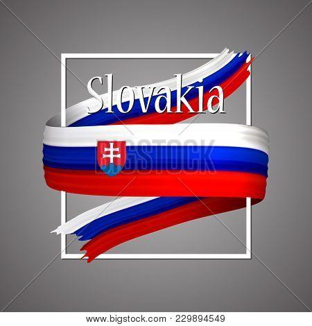 Slovakia Flag. Official National Colors. Slovakian 3d Realistic Ribbon. Isolated Waving Vector Glory