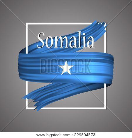 Somalia Flag. Official National Colors. Somalian 3d Realistic Ribbon. Isolated Waving Vector Glory F