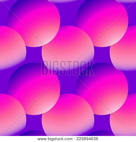 Holographic Vector Seamless Background. Gradient Sphere Shapes. Colorflul Repeatable Pattern With Vi