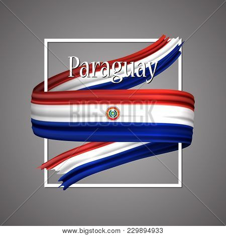 Paraguay Flag. Official National Colors. Paraguayan 3d Realistic Ribbon. Isolated Waving Vector Glor