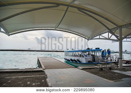 Male Maldives - June 13 2017: Passengers Are Brought On Speed Boats To The Ibrahim Nasir Internation