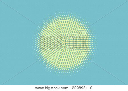Green Yellow Dotted Halftone. Radial Centered Dotted Gradient. Half Tone Vector Background. Artifici