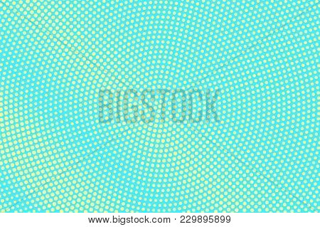 Turquoise Yellow Dotted Halftone. Radial Centered Dotted Gradient. Half Tone Vector Background. Arti