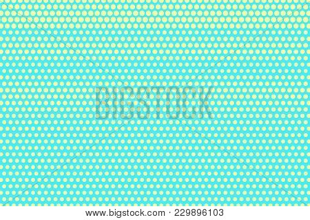 Turquoise Yellow Dotted Halftone. Horizontal Dotted Gradient. Half Tone Vector Background. Artificia