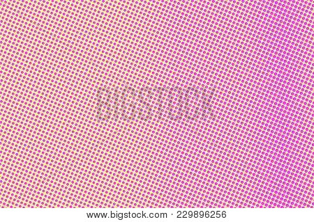 Yellow Pink Dotted Halftone. Frequent Subtle Dotted Gradient. Half Tone Vector Background. Artificia