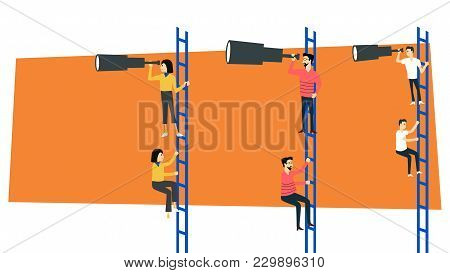Business Vision Concept Businessman Climb Holding Looking Trough Telescope Forward Standing On Stair