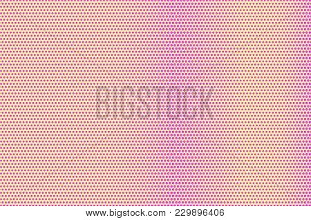 Yellow Pink Dotted Halftone. Smooth Regular Dotted Gradient. Half Tone Vector Background. Artificial
