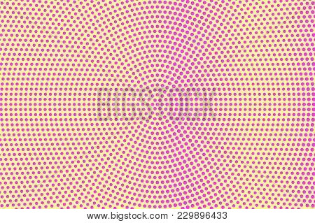 Yellow Pink Dotted Halftone. Frequent Smooth Dotted Gradient. Half Tone Vector Background. Artificia