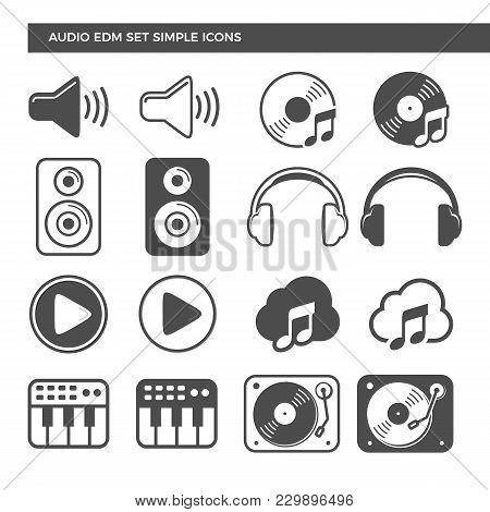 Electronic Dance Music Audio Set Icons Vector Symbol Graphic Logo Design