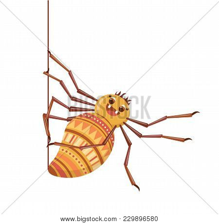 Spider Weaves His Web. Cute Cartoon Tarantula. Isolated On A White Background. Vector Illustration.