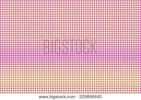 Yellow Pink Dotted Halftone. Regular Rough Dotted Gradient. Half Tone Vector Background. Artificial