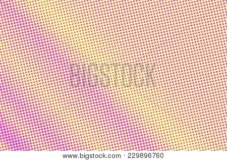 Yellow Pink Dotted Halftone. Diagonal Subtle Dotted Gradient. Half Tone Vector Background. Artificia