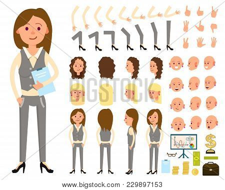 Businesswoman Character Creation Set Illustration. Female Person Constructor With Various Gesture, E