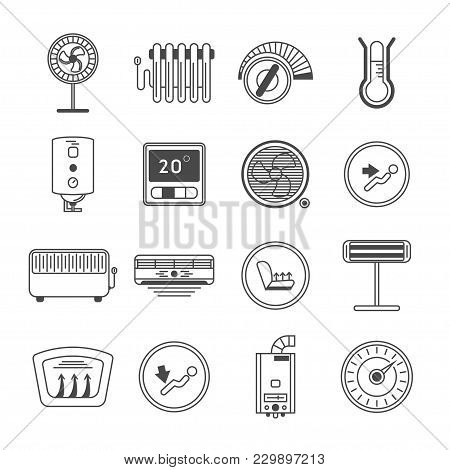 Climate Control Line Art Icon Set Isolated Illustration. Air Conditioner, Battery, Fan, Oil Heater,