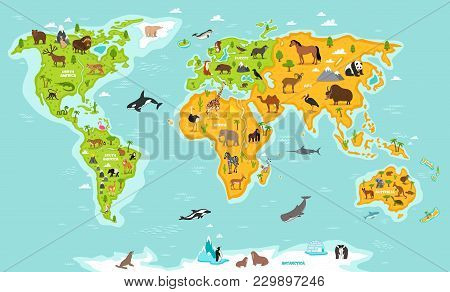 World Map With Wildlife Animals Illustration. Animals Planet Concept, World Continents With Flora An