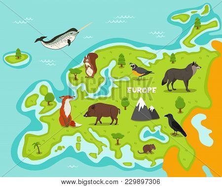 European Map With Wildlife Animals Illustration. Cartoon Flora And Fauna, Squirrel, Wolf, Crow, Fox,