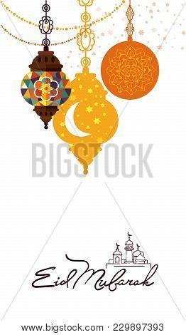 Eid Mubarak Greeting Card Illustration. Muslim Festival Poster Design, Islamic Holiday Template With