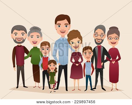 Big Happy Family Isolated Illustration. Mother, Father, Grandparents, Children, Parents, Brother, Si