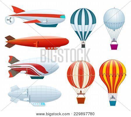 Hot Air Balloon Set Isolated On White Background Illustration. Aerostat Airship, Modern Zeppelin, Ae