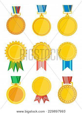 Gold Winner Badge With Ribbon Set Isolated On White Background Illustration. Winner Award Label, Gol
