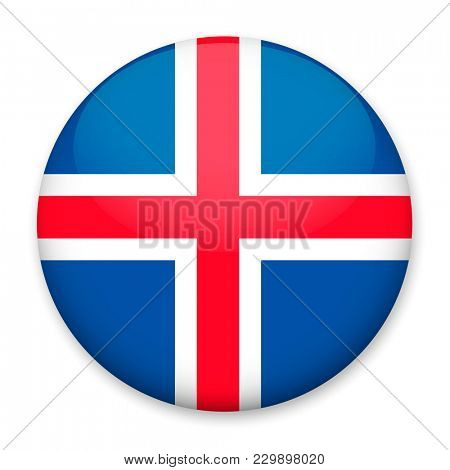 Flag of Iceland in the form of a round button with a light glare and a shadow.