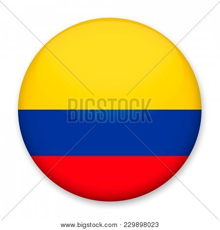 Flag of Colombia in the form of a round button with a light glare and a shadow.