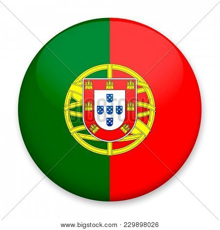 Flag of Portugal in the form of a round button with a light glare and a shadow.
