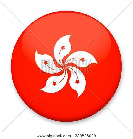 Flag of Hong Kong in the form of a round button with a light glare and a shadow.