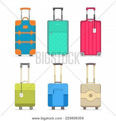 Travel Suitcase Set Isolated On White Background Illustration. Journey Package, Colorful Baggage, Bu