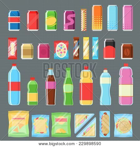 Vending Machine Product Set Isolated Illustration. Cold Drink And Snack, Cola Can, Soda Bottle, Choc
