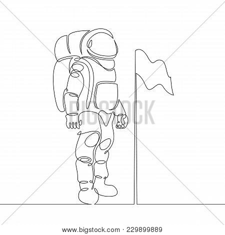 Continuous Single Drawn One Line Astronaut, Astronaut On The Moon With Flag Space