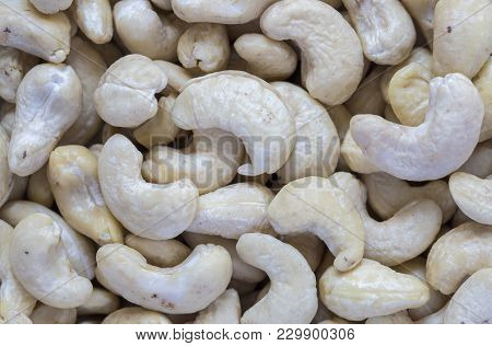 Cashew Pile Closeup. Cashew Macro Photo Background. Organic Food Rustic Banner Template. Tasty Healt