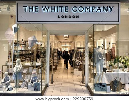 BRENT CROSS, LONDON - MARCH 6, 2018: The White Company, an English retailer of linens, home decor, dinnerware, and furniture at Brent Cross Shopping Centre in Barnet, North London, England, UK.