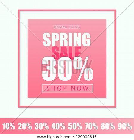 Spring Sale Banner Template Design. Vector Illustration In Pink Color.