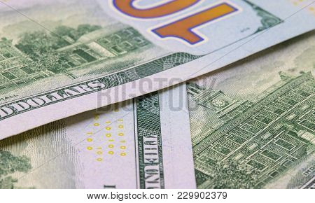 Hundred Dollar Background. Cash Money Closeup Photo. Currency Background. Business Success And Profi